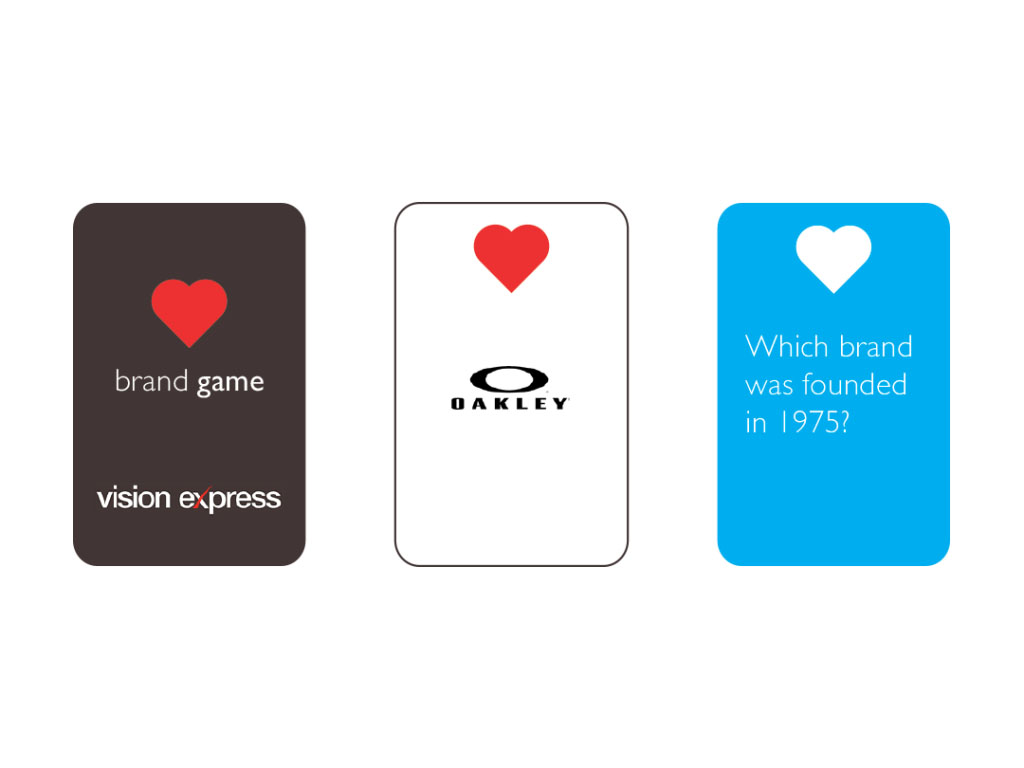 playing card design for brand game created for Vision Express creative work