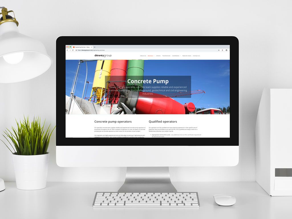 website design mixing lorry concrete pump operators services page for Dewey Group creative work website design and marketing