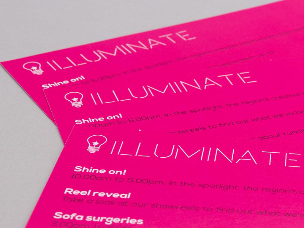 illuminate exhibition bold pink invitations creative work