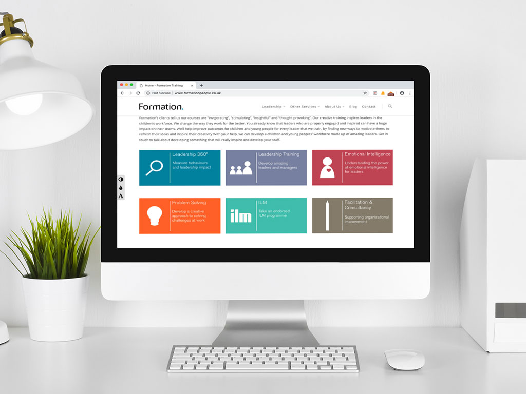 website design view on imac infographic service icons services page for Formation creative work website design and marketing
