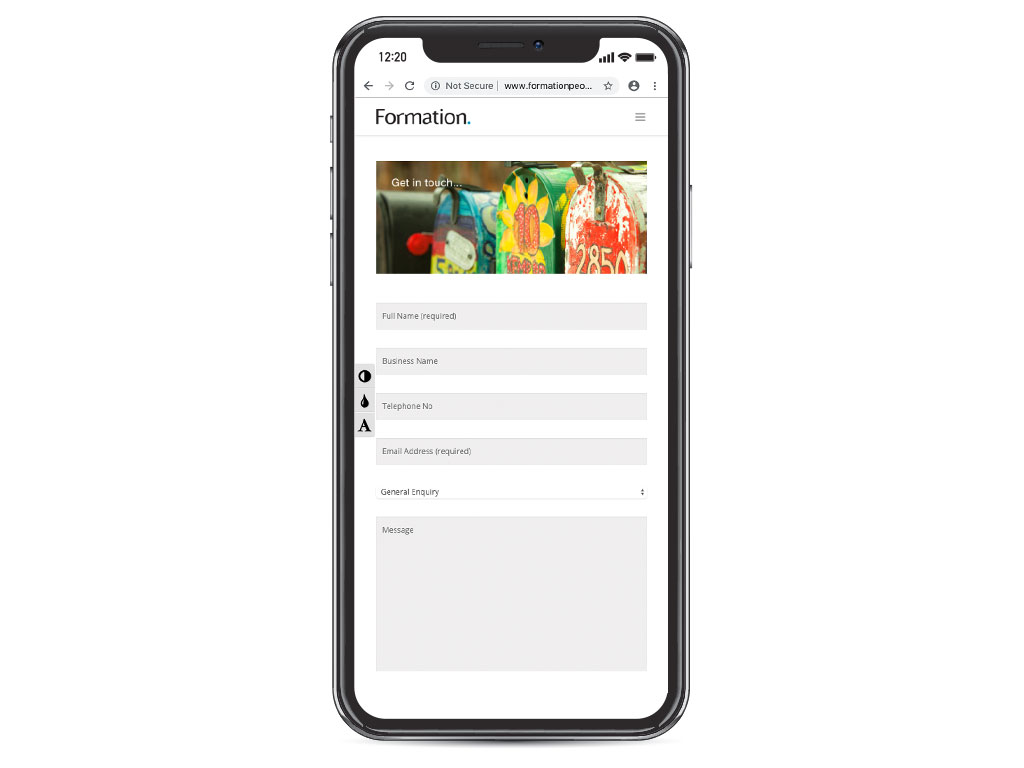 website design view on iphone X creative tin mailboxes contact page for Formation creative work website design and marketing