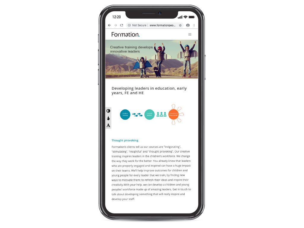 website design view on iphone X boys aeroplane wings developing leaders in education page for Formation creative work website design and marketing