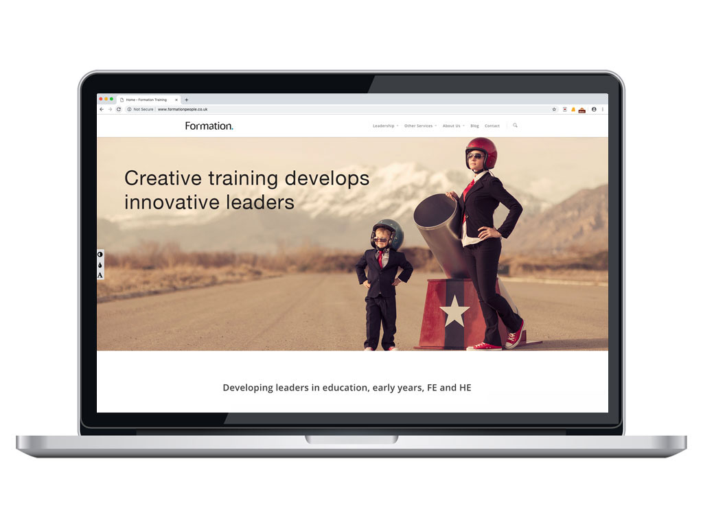 website design view on macbook human cannonball training page for Formation creative work website design and marketing