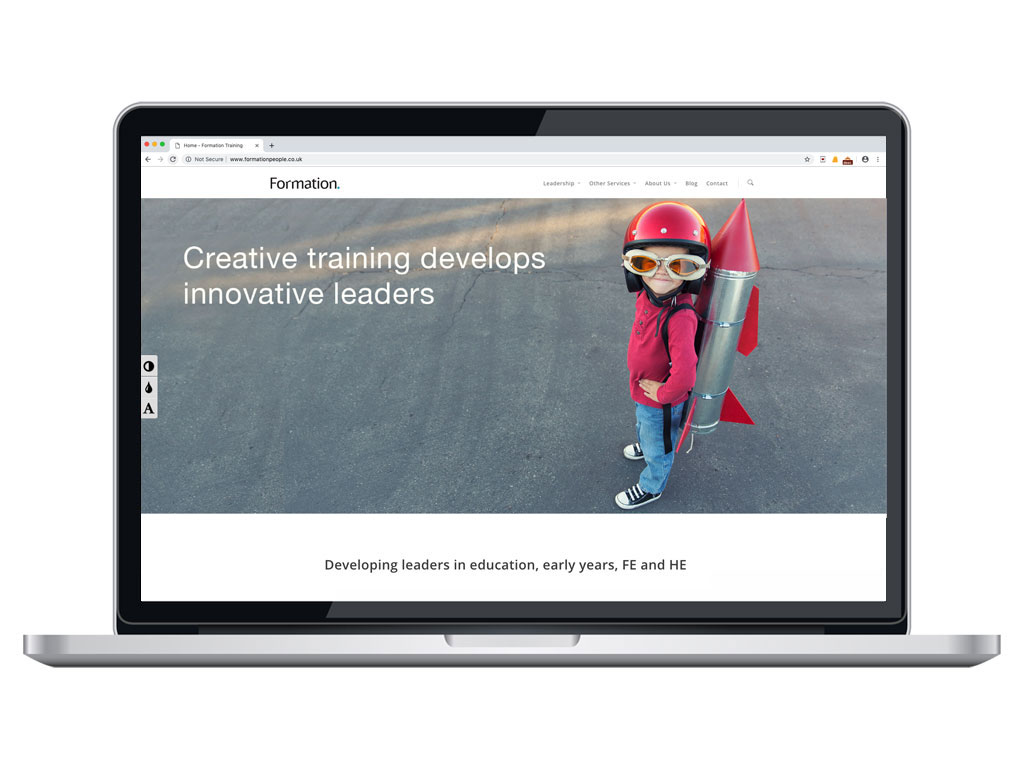 website design view on macbook young girl with tin rocket home page for Formation creative work website design and marketing