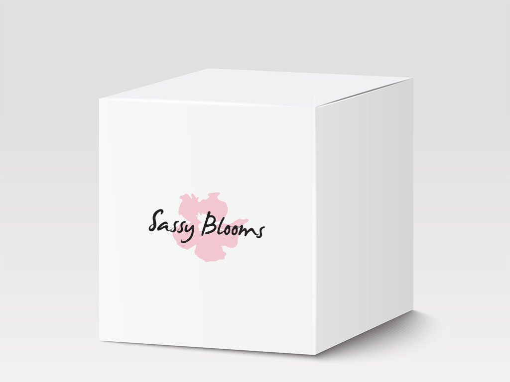 sassy blooms boutonnière packaging logo box creative work branding