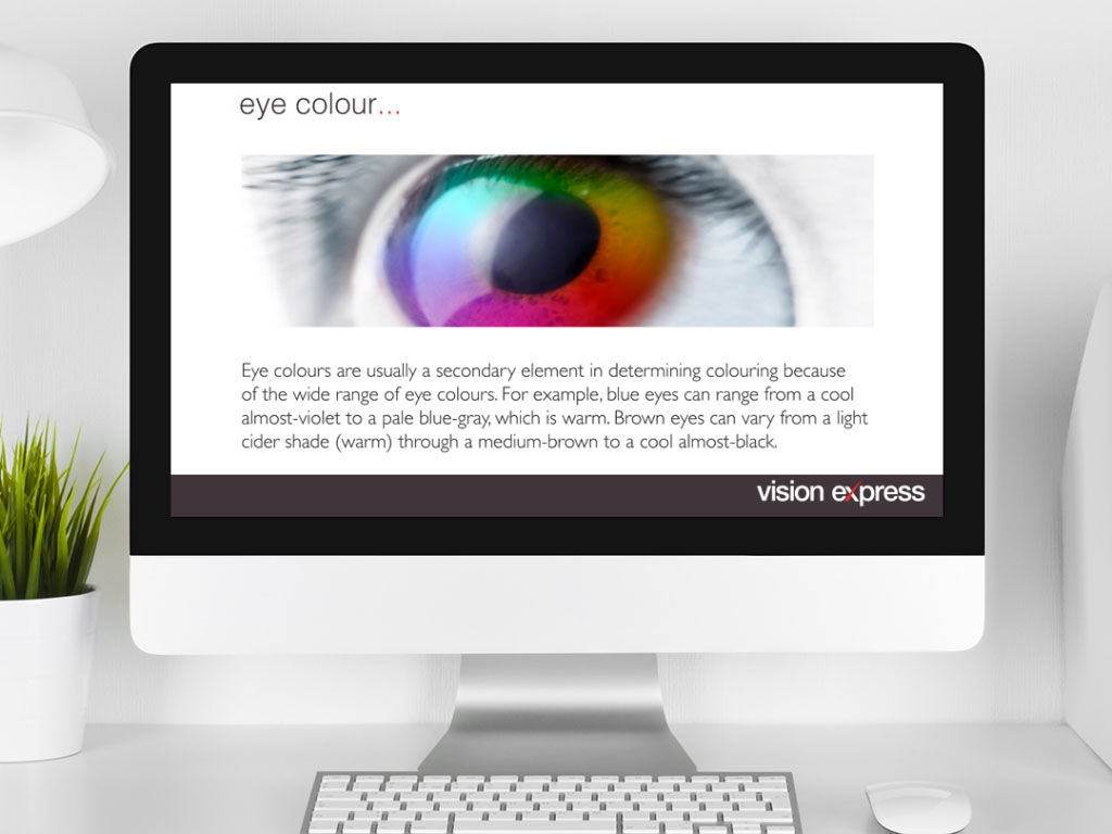 design view on Imac for style module eye colour e-learning platform created for Vision Express creative work