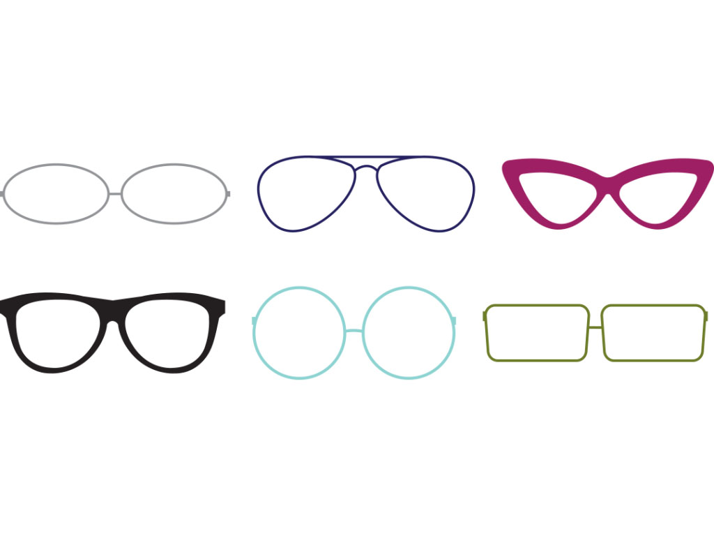 illustrations of various shapes of glasses created for Vision Express creative work E-Learning Platform