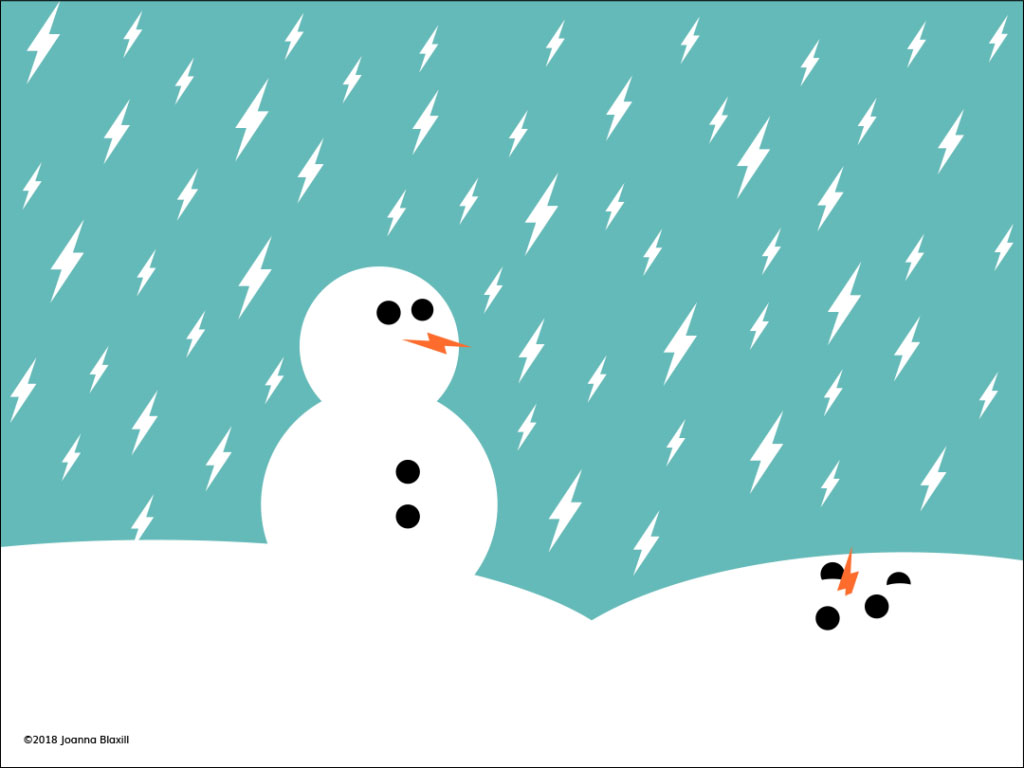 illustration of snowman and lightning bolt snow