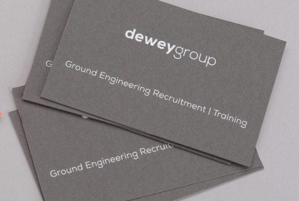 Dewey Group grey business cards creative work branding
