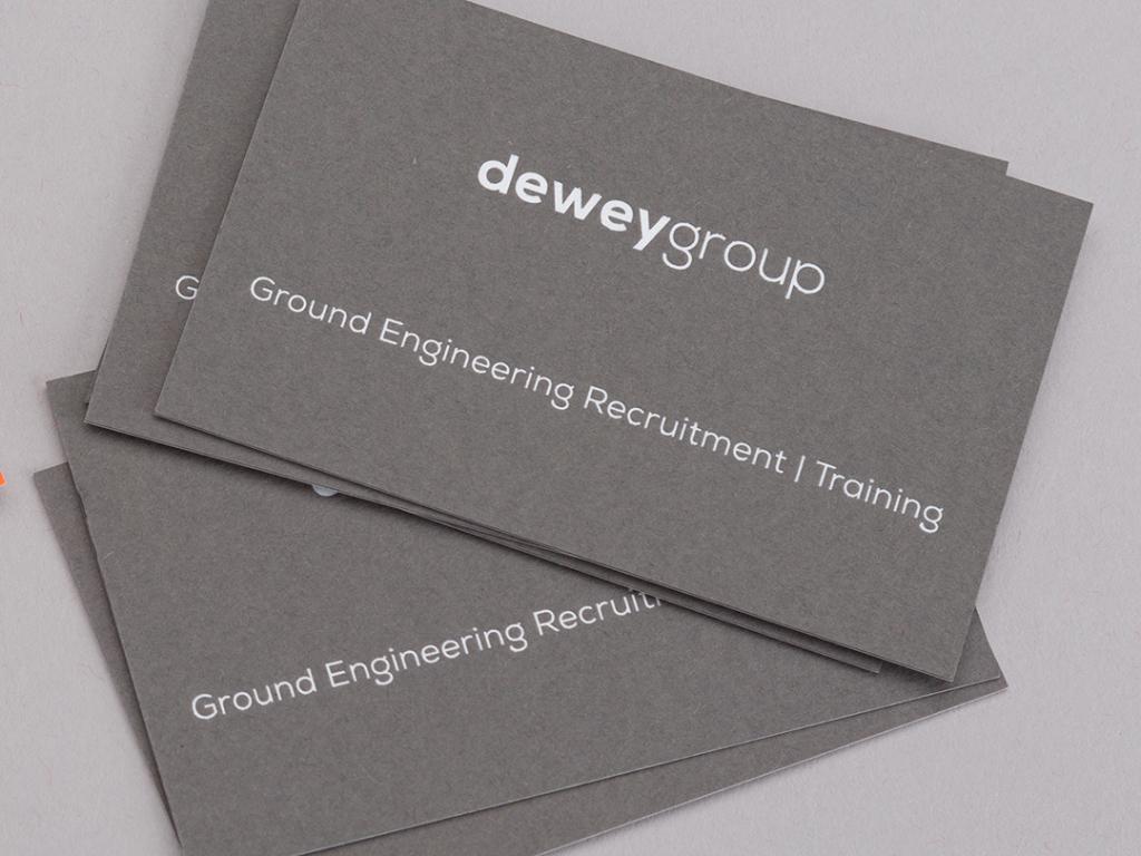 Dewey Group grey business cards creative work branding