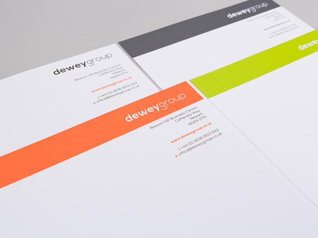 dewey group letterhead design creative work branding