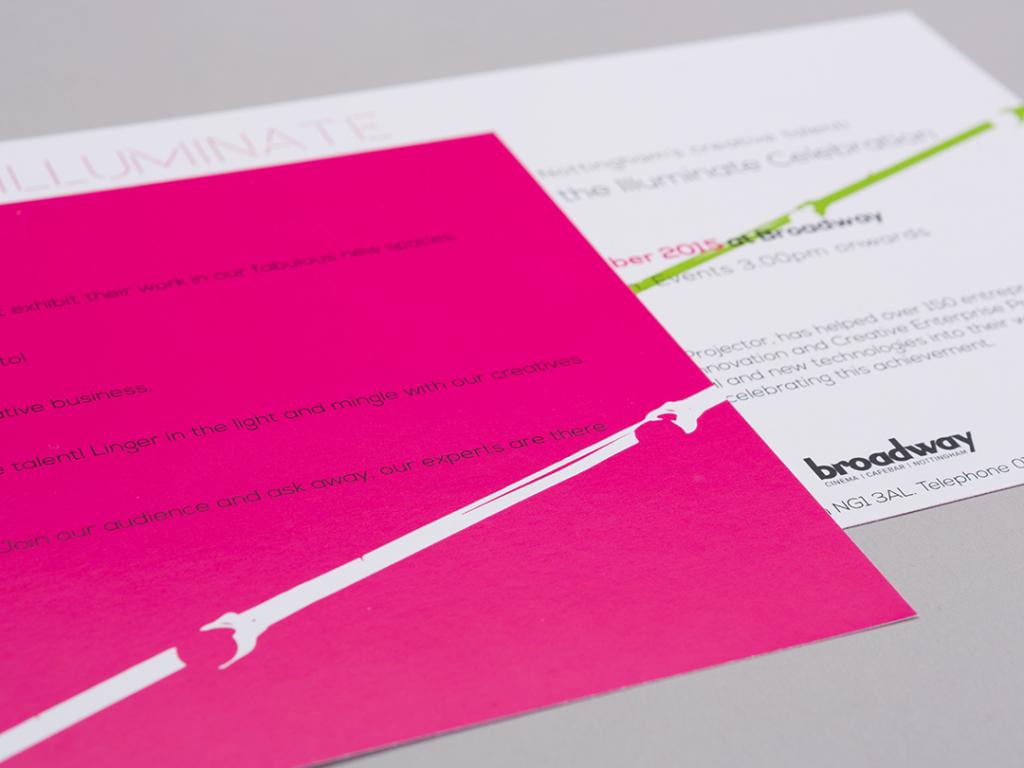 illuminate exhibition bold pink invitation creative work visual identity
