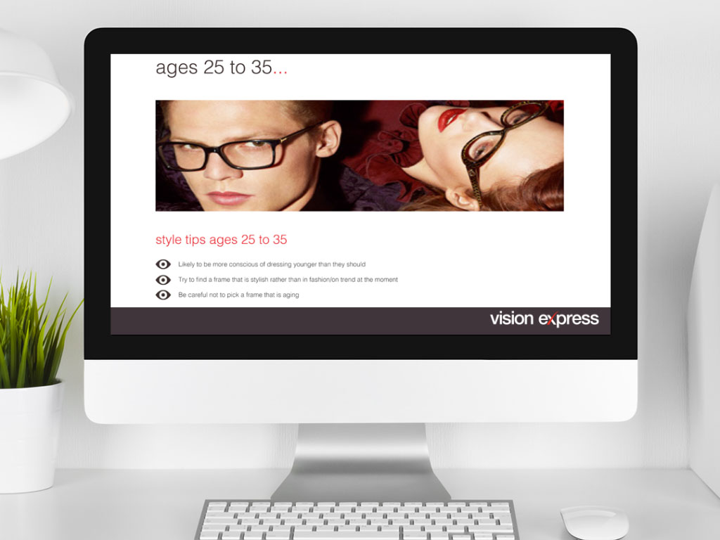 design view on Imac for brand module age 25-35 e-learning platform created for Vision Express creative work