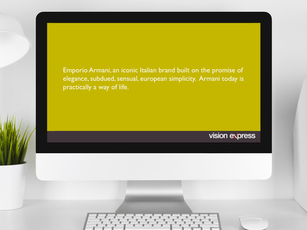 design view on Imac for brand module Emporio Armani e-learning platform created for Vision Express creative work