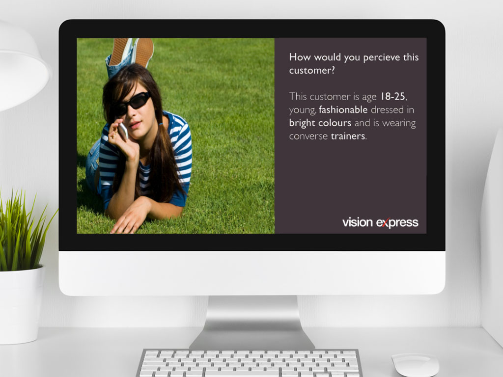 design view on Imac for brand module customer perception e-learning platform created for Vision Express creative work