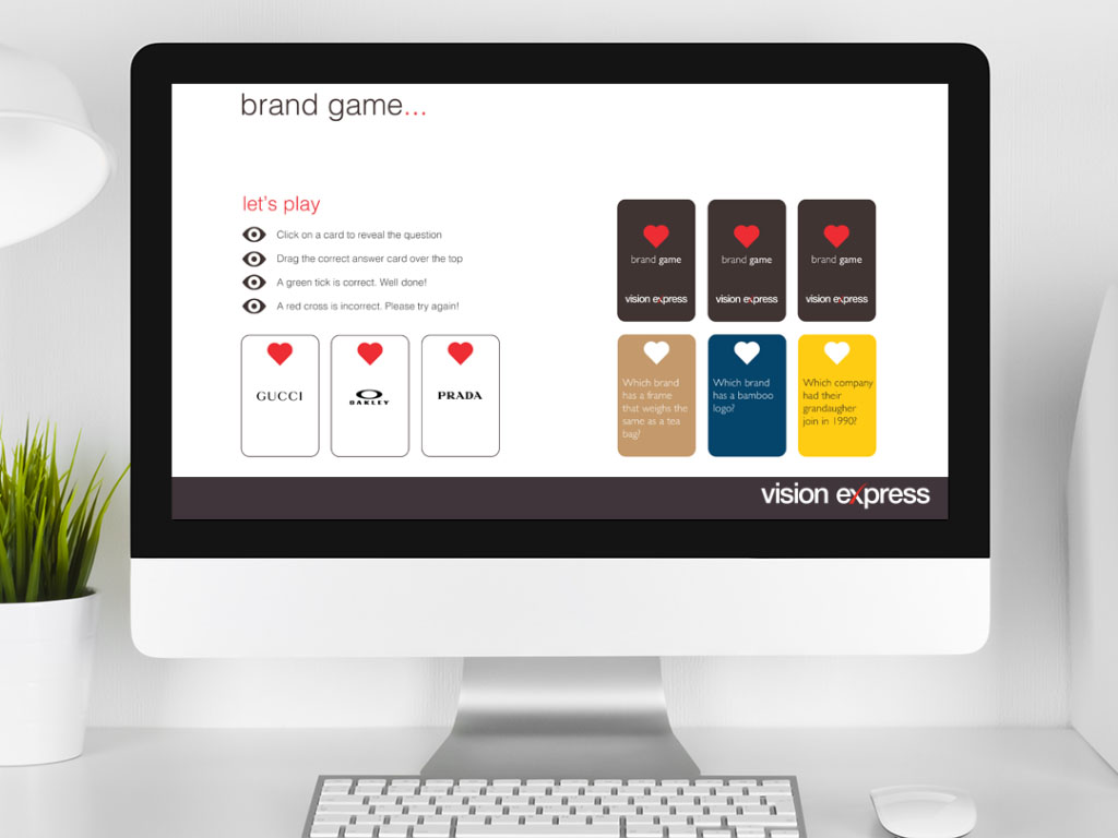 interactive brand game for e-learning platform created for Vision Express creative work