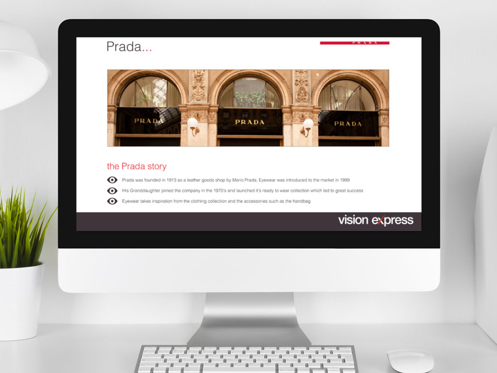 design view on Imac for brand module Prada e-learning platform created for Vision Express creative work