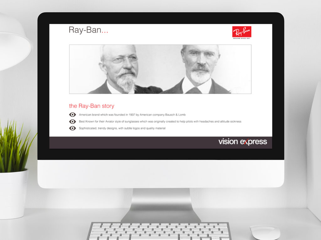 design view on Imac for brand module Rayban e-learning platform created for Vision Express creative work