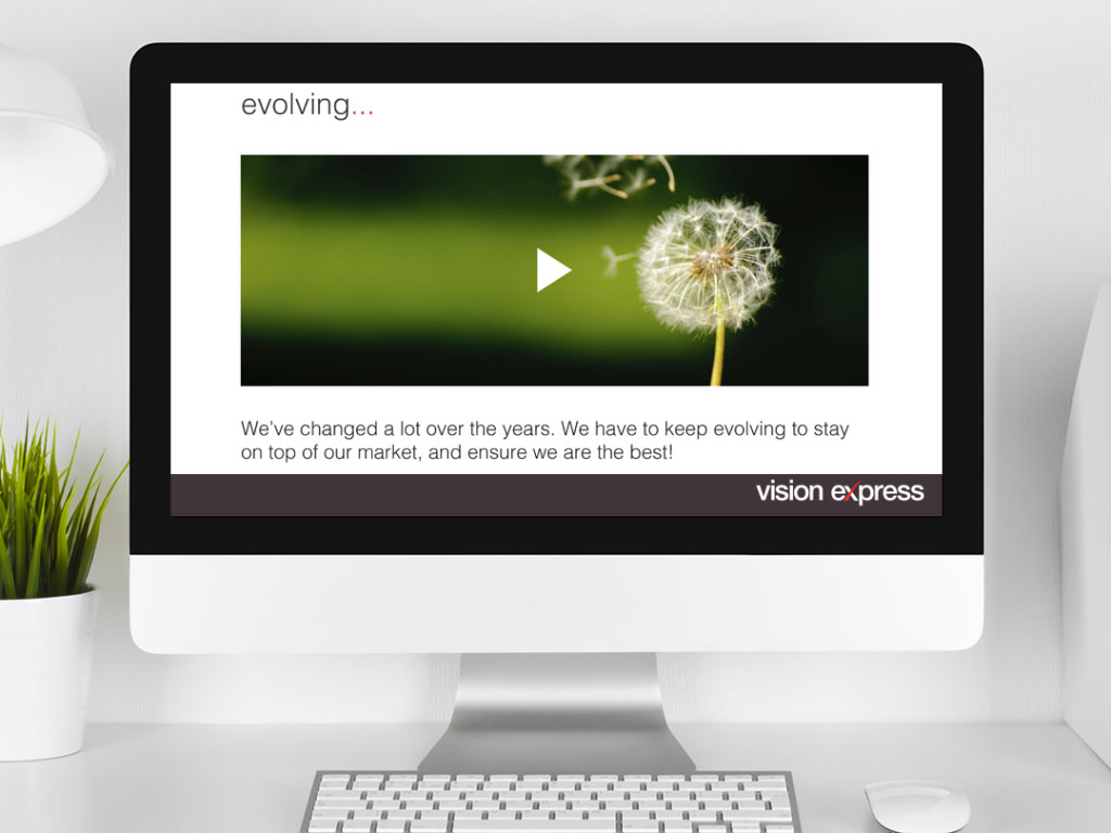 design view on Imac for scene evolve module e-learning platform created for Vision Express creative work