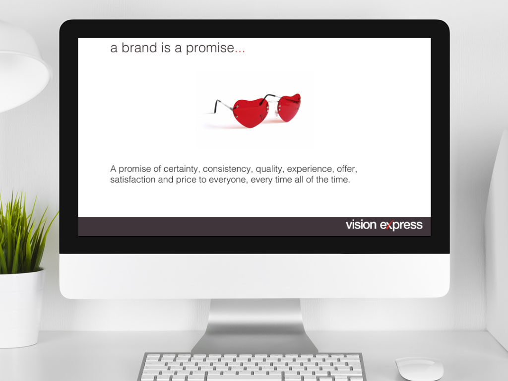 design view on Imac for brand promise module e-learning platform created for Vision Express creative work