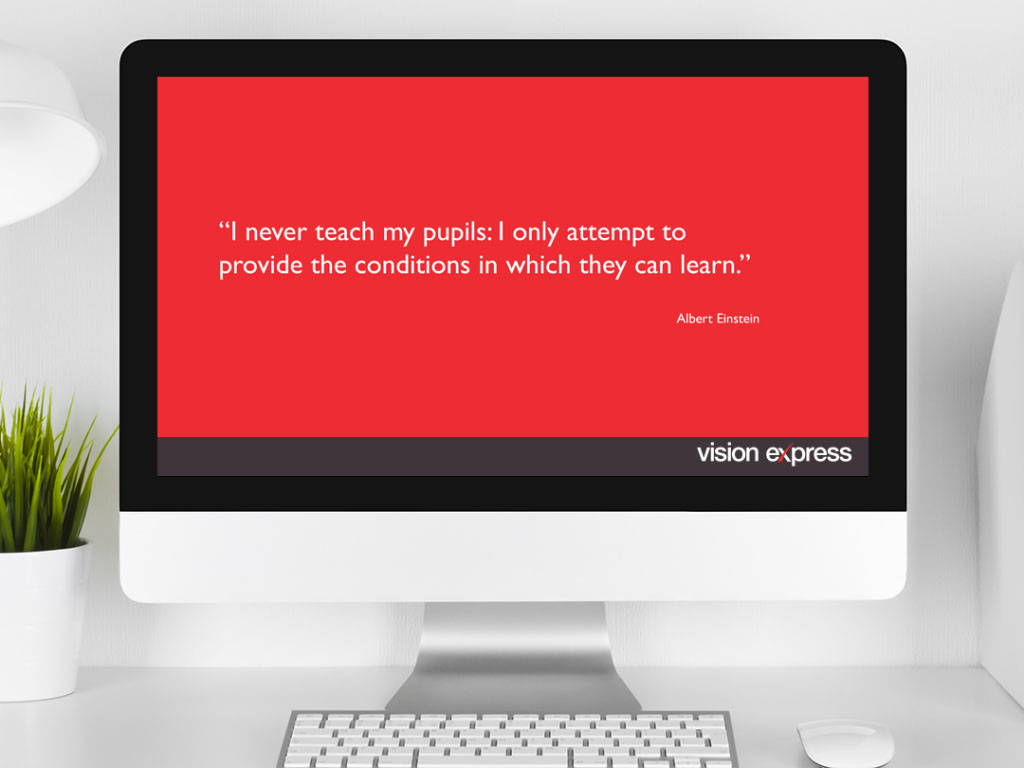 design view on Imac for scene module e-learning platform created for Vision Express creative work