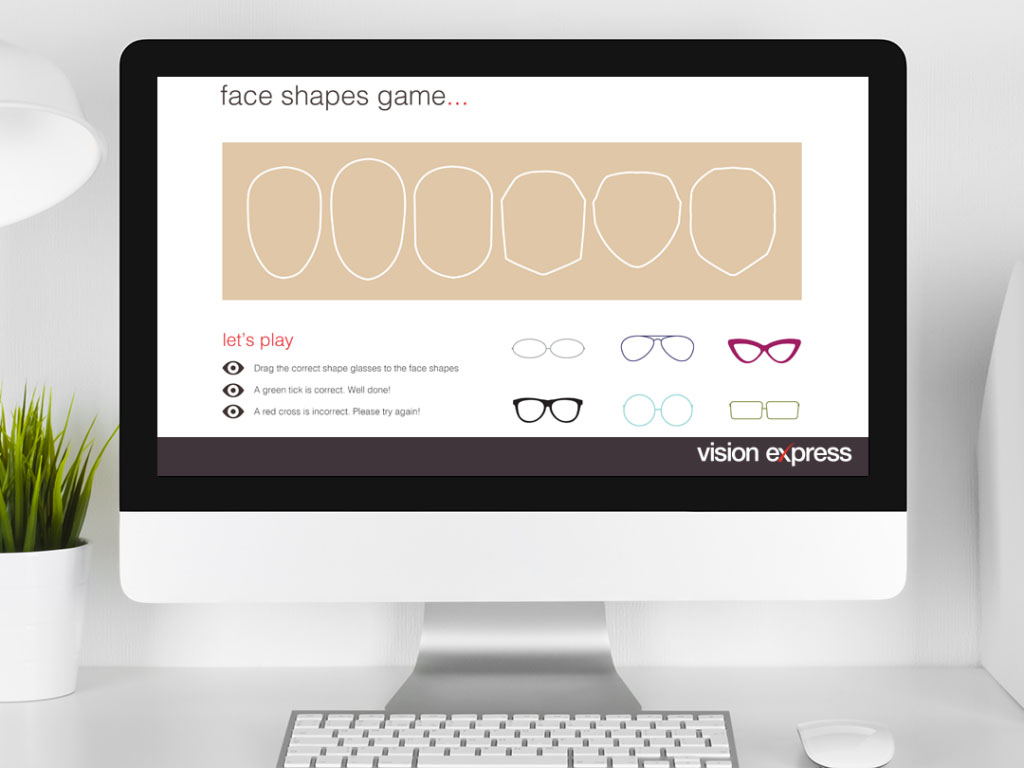 design view on Imac for style face game module e-learning platform created for Vision Express creative work