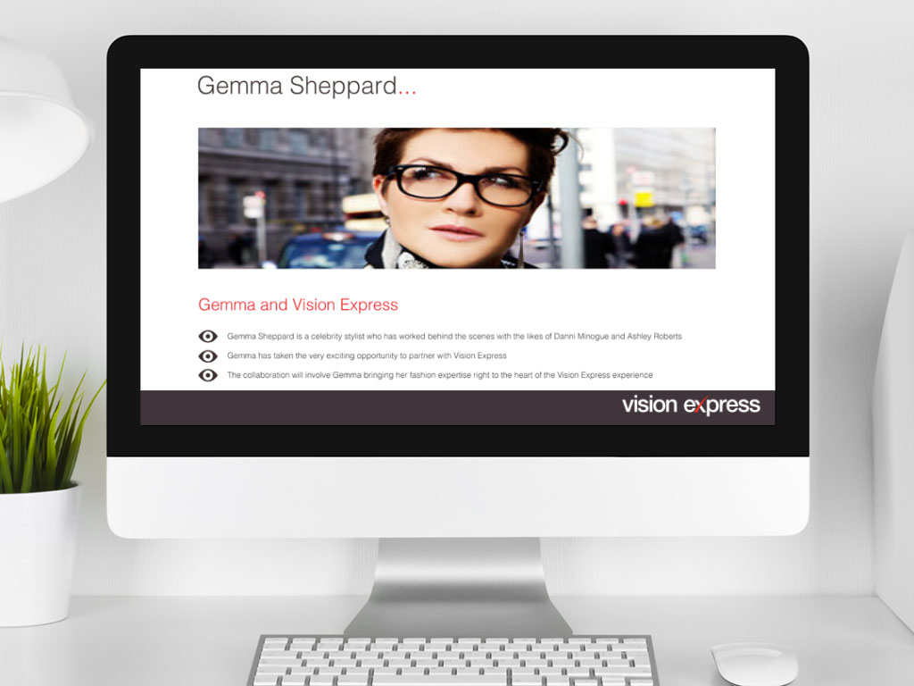 design view on Imac for style module Gemma Sheppard e-learning platform created for Vision Express creative work