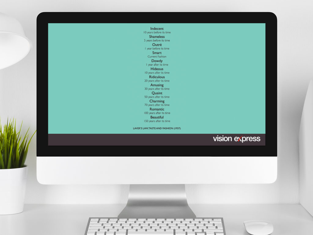 design view on Imac for style module Lavers Law e-learning platform created for Vision Express creative work
