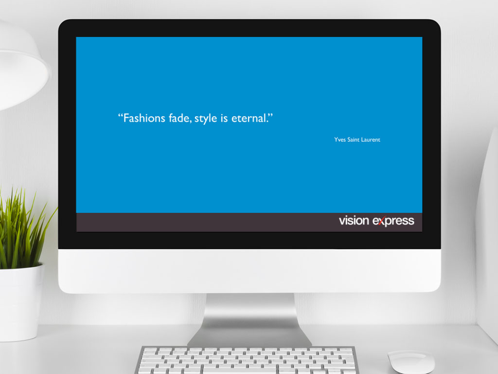 design view on Imac for style module e-learning platform created for Vision Express creative work