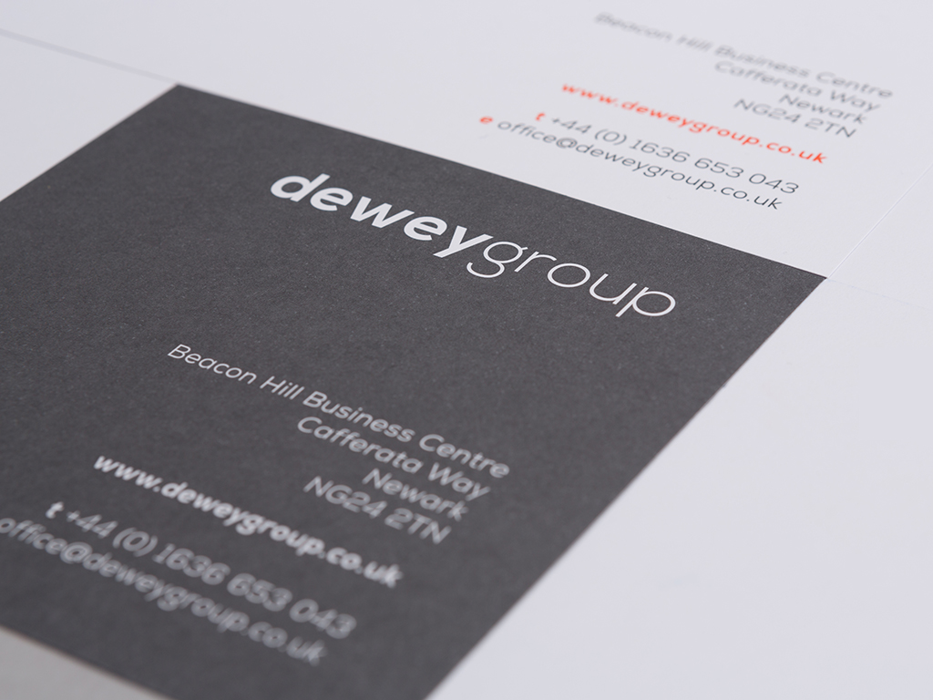 dewey group branding compliment slip stationery design creative work branding
