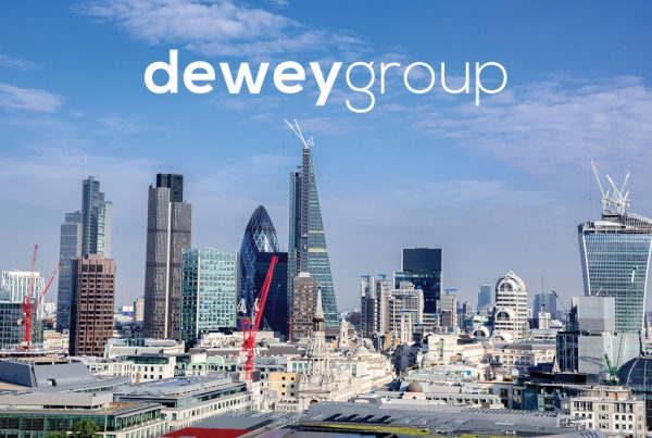 London skyline with cranes construction concept created for Dewey Group creative work website design and marketing