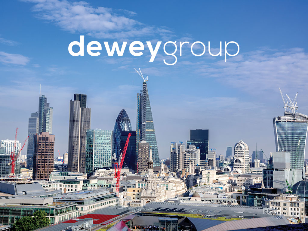 London skyline with cranes construction concept created for Dewey Group creativity website design and marketing