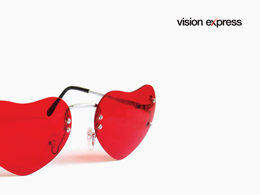 red heart shape sunglasses concept for Vision Express creative work and e-learning platform