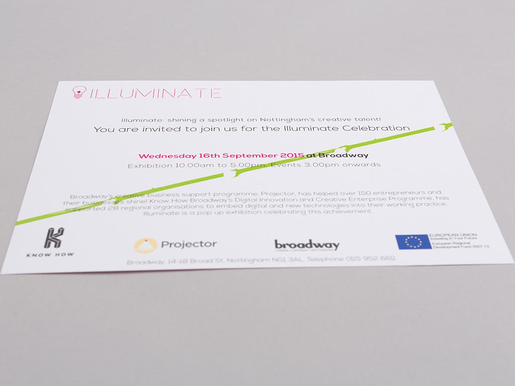 illuminate exhibition invitation creative work visual identity