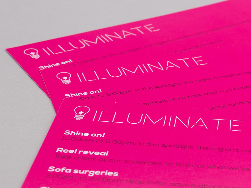 illuminate exhibition bold pink invitations creative work visual identity