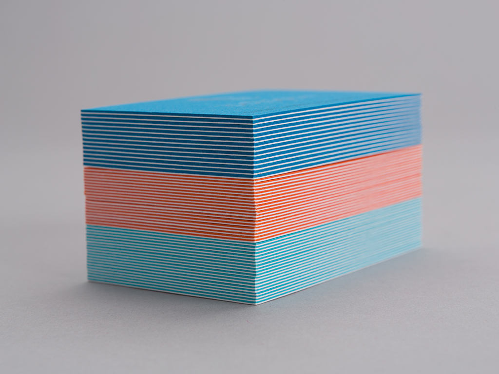 octopus business card stack of coloured triplex layers creative work