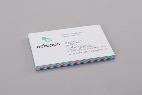 Octopus intelligence business card design back example creative work branding