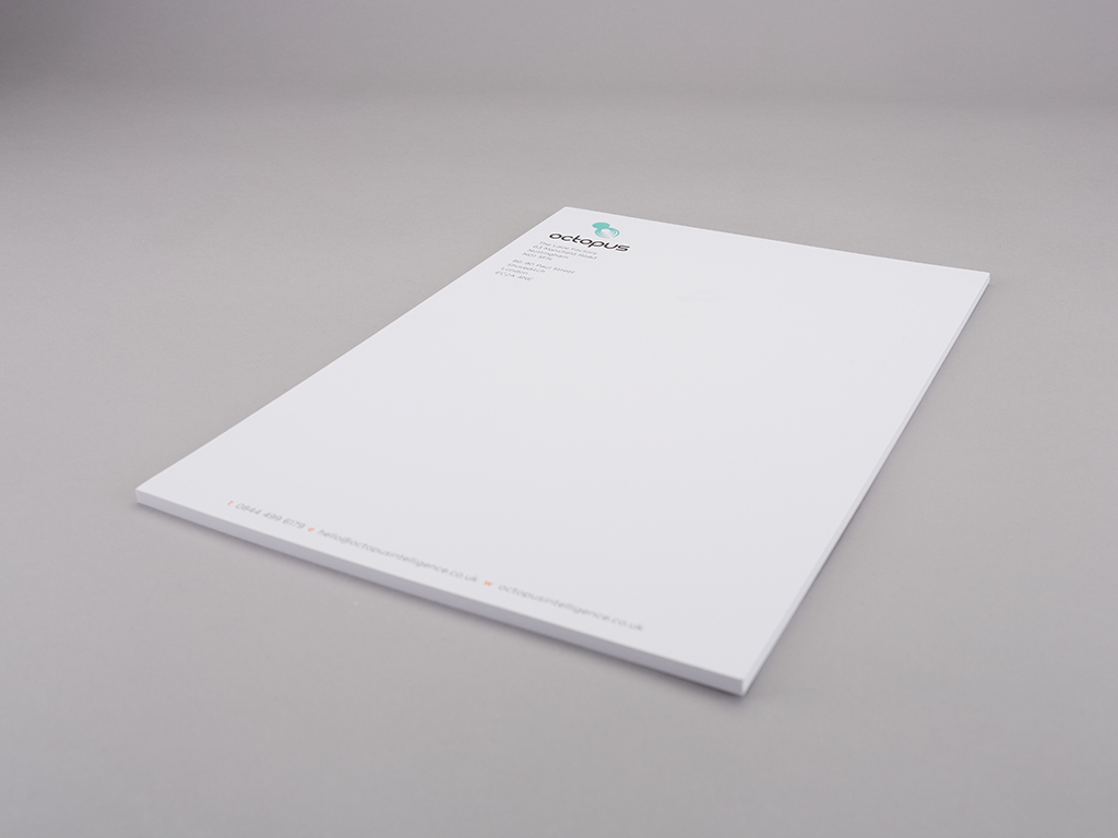 octopus intelligence letterhead corporate stationery design creative work branding