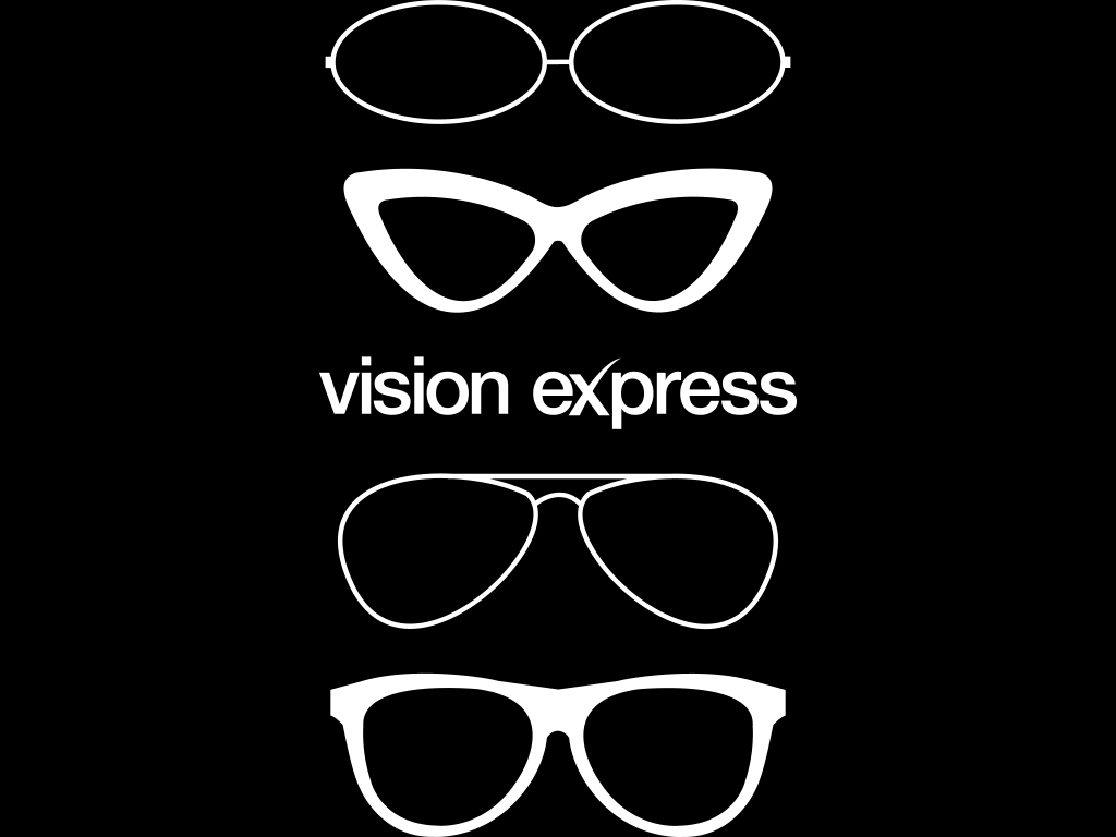white graphic glasses shapes illustrations created for Vision Express E-Learning Platform