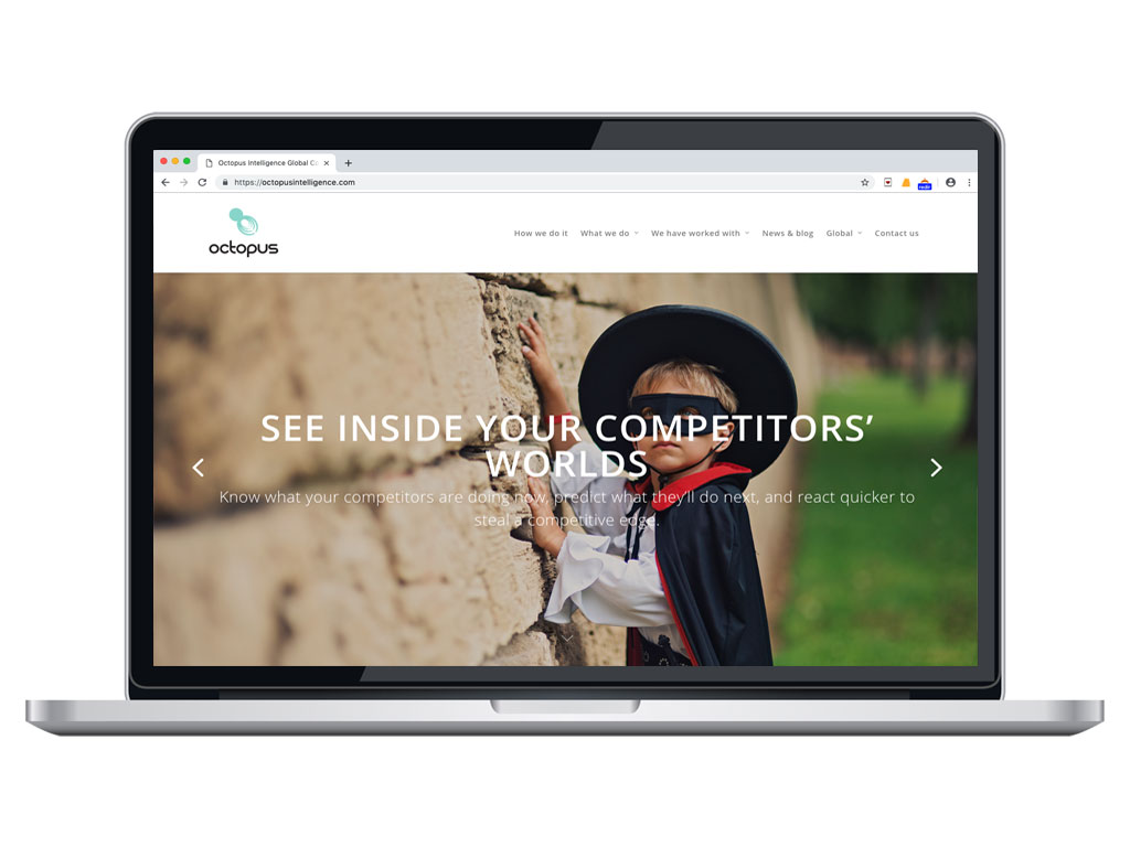 website design view on macbook zoro competitive intelligence page for Octopus Intelligence creative work website design and marketing