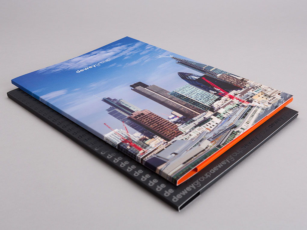 dewey group London design presentation folder creative work and branding