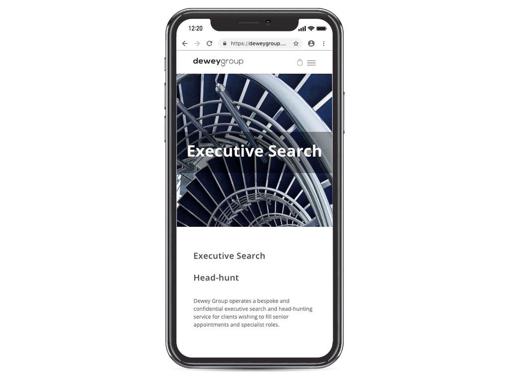 website design view on iphone X spiral stairs executive search page for Dewey Group creative work website design and marketing