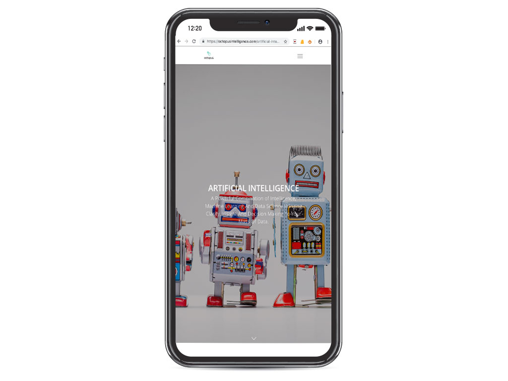 website design view on iphone X retro tin robots artificial intelligence page for Octopus Intelligence creative work website design and marketing