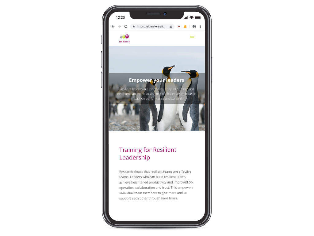 website design view on iphone X penguin leaders empower leaders page for Ultimate Resilience creative work website design and marketing