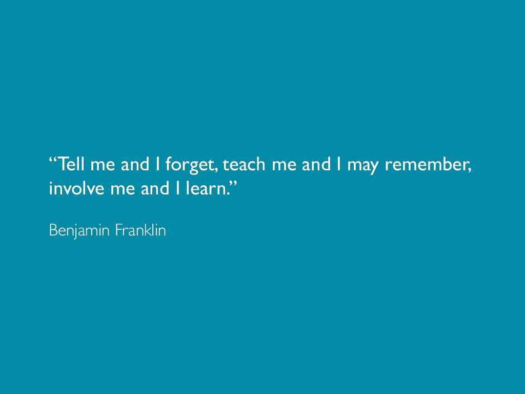 a quotation by Benjamin Franklin about learning website design and marketing
