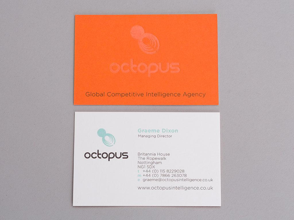 Octopus business card orange creative work branding
